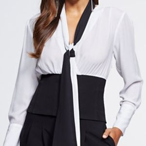 Gabrielle Union Colorblock Wrap Corset Blouse Top